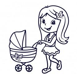 Samolepka na auto se jménem dítěte- holka s kočárkem