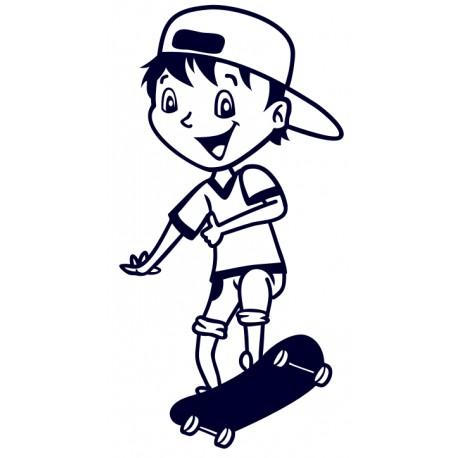Samolepka na auto se jménem dítěte- kluk na skateboardu