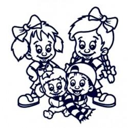 Samolepka na auto se jmény dětí- sourozenci- tři holky a kluk