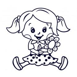 Samolepka na auto se jménem dítěte- holka s květinkou