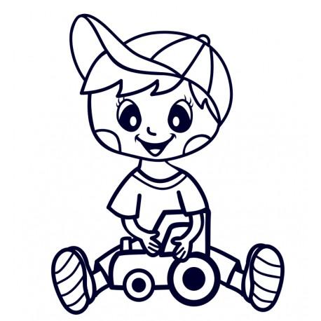 Samolepka na auto - kluk s traktorem