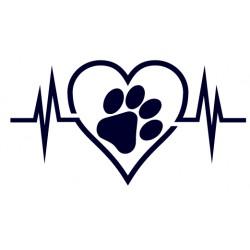 Samolepka na auto-pes v autě- srdce a srdeční tep