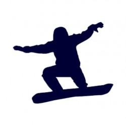 Samolepka silueta snowborďáka v letu