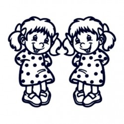 Samolepka na auto se jménem dítěte- dvojčata 02