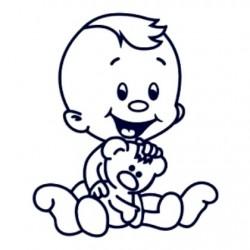 Samolepka na auto se jménem dítěte- kluk s plyšákem
