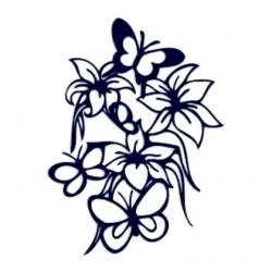 Samolepka na auto-květiny a motýli