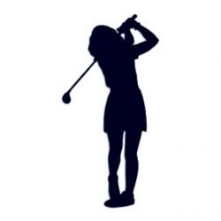 Samolepka na auto s motivem golfu- golfistka 01