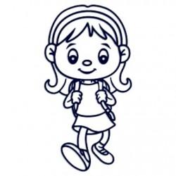 Samolepka na auto se jménem dítěte- holka školačka