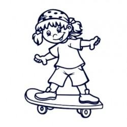 Samolepka na auto se jménem dítěte- holka na skateboardu
