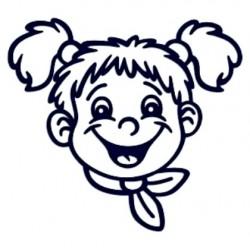 Samolepka na auto se jménem dítěte- holka s šátkem