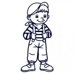 Samolepka na auto se jménem dítěte- kluk s kšandami