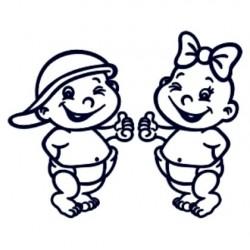 Samolepka na auto se jménem dítěte- dvojčata 04