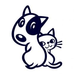 Samolepka na auto-pes v autě - pejsek a kočička