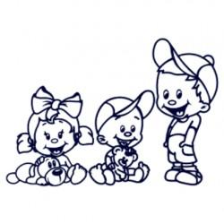 Samolepka na auto se jmény dětí- sourozenci- holka a dva kluci