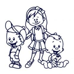 Samolepka na auto se jmény dětí- sourozenci- holka a dva kluci 01