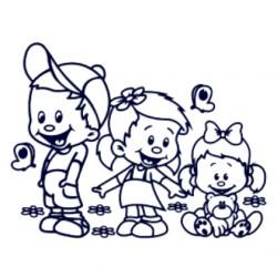 Samolepka na auto se jmény dětí- sourozenci- kluk a dvě holky