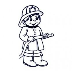 Samolepka na auto - kluk hasič 02