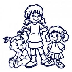 Nálepka na auto se jmény dětí - sourozenci - tři holky