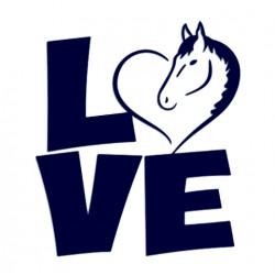 Samolepka na auto- kůň LOVE