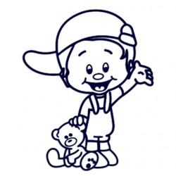 Samolepka na auto se jménem dítěte - kluk s méďou a čepicí