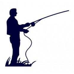 Samolepka na auto-rybář s udicí